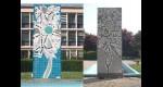 Stèle en céramique recto/verso de 4 mètres de hauteur située dans le jardin