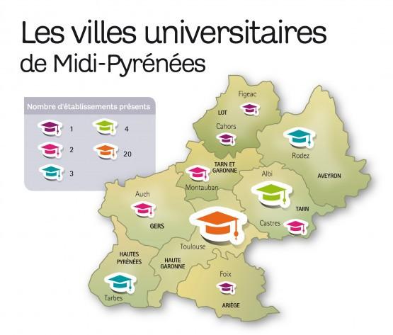 répartition géographique des villes universitaires