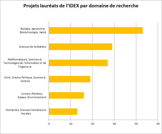 Projets lauréats de l'IDEX par domaines
